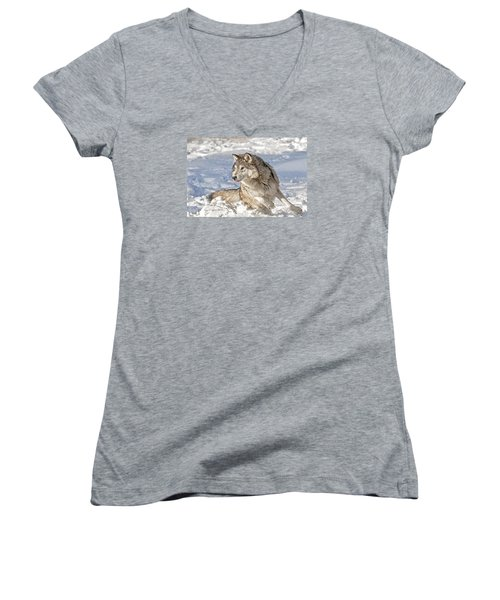 Running Wolf Women's V-Neck (Athletic Fit)