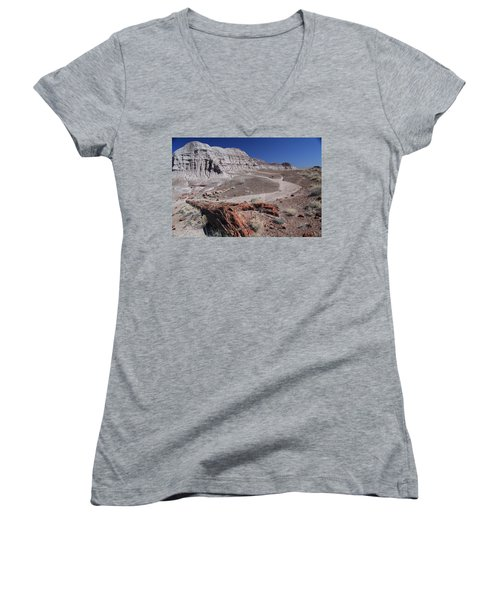 Runoff Obstacle Women's V-Neck T-Shirt (Junior Cut) by Gary Kaylor