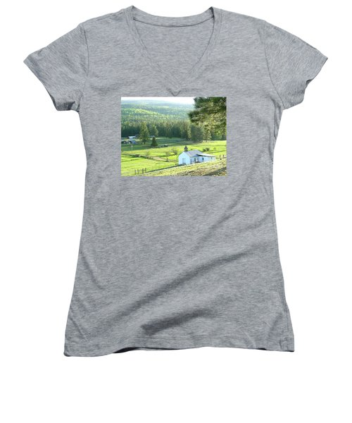 Rural Church In The Valley Women's V-Neck T-Shirt (Junior Cut) by Cindy Croal