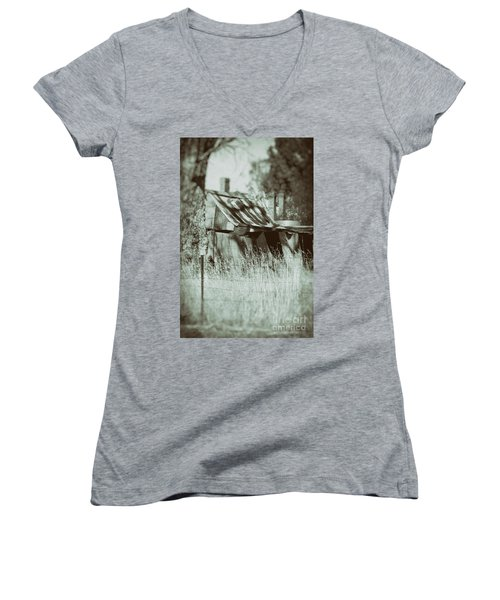 Women's V-Neck T-Shirt featuring the photograph Rural Reminiscence by Linda Lees