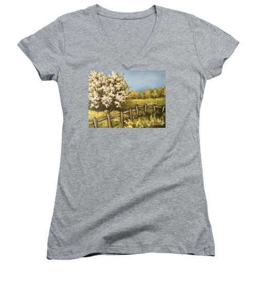 Women's V-Neck T-Shirt (Junior Cut) featuring the painting Rural Spring by Inese Poga