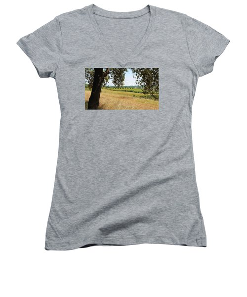 Women's V-Neck T-Shirt (Junior Cut) featuring the photograph Rural Tuscany by Valentino Visentini