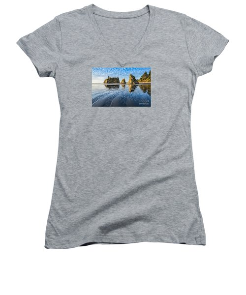 Ruby Beach Reflection Women's V-Neck (Athletic Fit)
