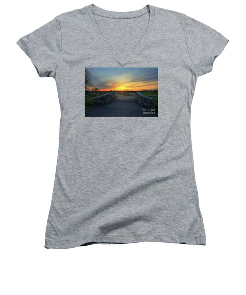 Rush Creek Golf Course The Bridge To Sunset Women's V-Neck (Athletic Fit)