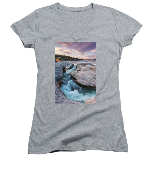 Rushing Waters At Pedernales Falls State Park - Texas Hill Country Women's V-Neck