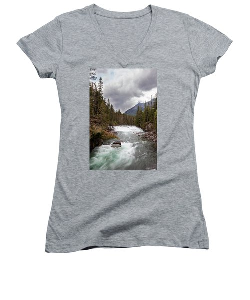 Women's V-Neck T-Shirt featuring the photograph Rushing Waters by Fran Riley