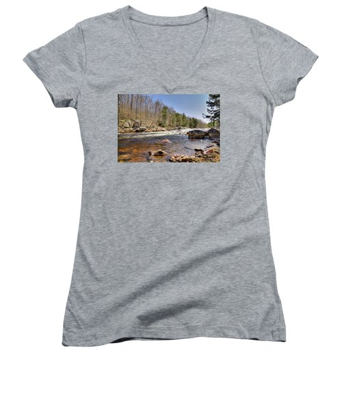 Women's V-Neck T-Shirt (Junior Cut) featuring the photograph Rushing Waters Of The Moose River by David Patterson