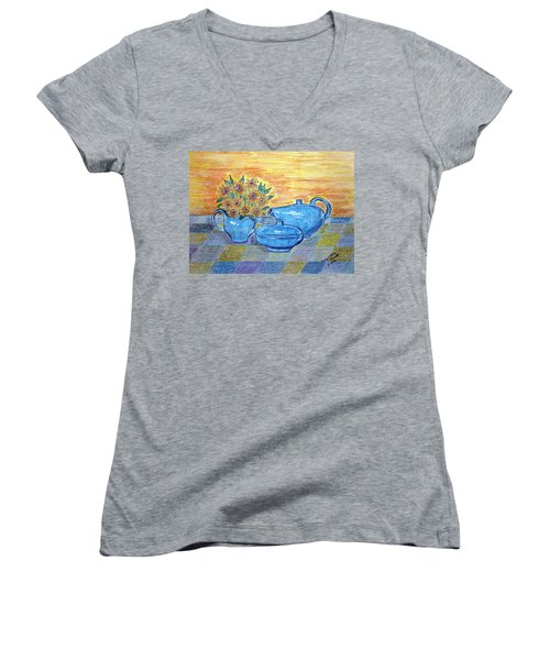 Women's V-Neck T-Shirt (Junior Cut) featuring the painting Russel Wright China  by Kathy Marrs Chandler