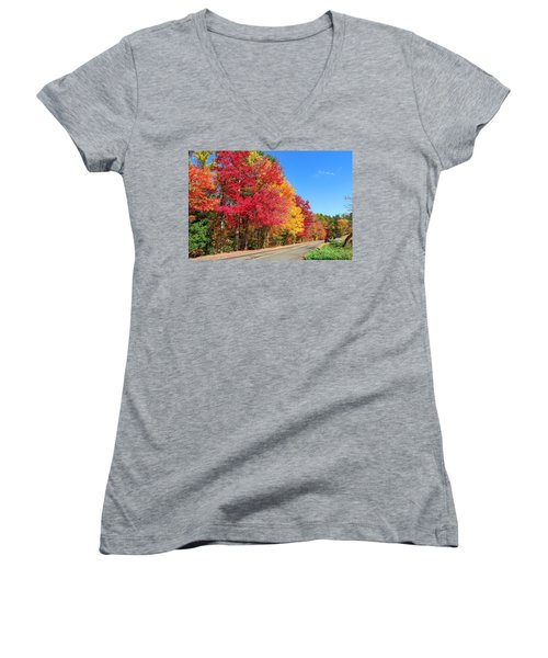 Women's V-Neck featuring the photograph Russellville Road Fall Colors by Sven Kielhorn