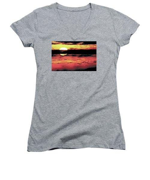 Russet Sunset Women's V-Neck T-Shirt