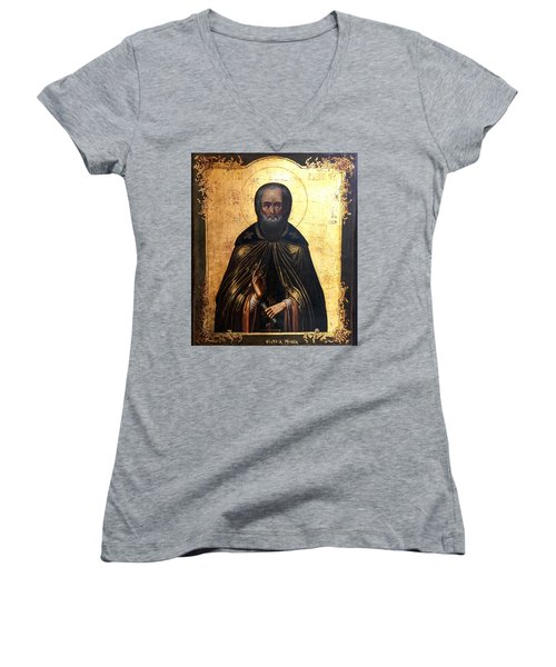 Russian Icon Women's V-Neck T-Shirt (Junior Cut) by Victor Minca