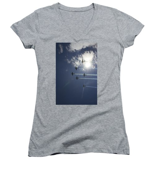 Women's V-Neck T-Shirt featuring the photograph Russian Roolettes And Sydney Sun by Miroslava Jurcik