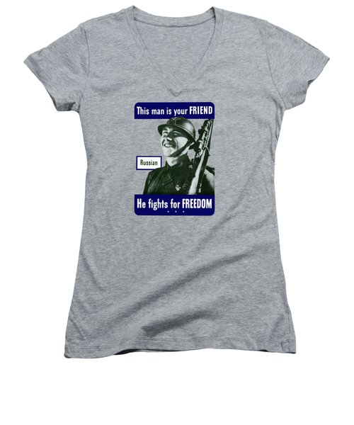 Russian - This Man Is Your Friend Women's V-Neck