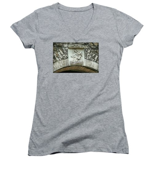 Women's V-Neck T-Shirt featuring the photograph Russian To Swiss Dialect Translation by Hanny Heim