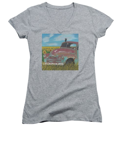 Rust And Gold Women's V-Neck T-Shirt (Junior Cut) by Arlene Crafton