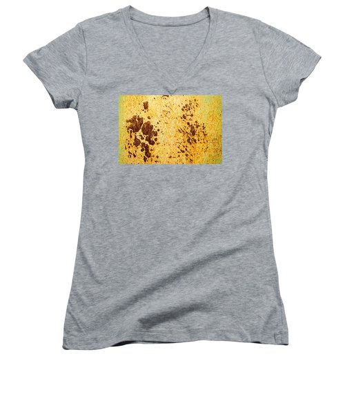 Women's V-Neck T-Shirt (Junior Cut) featuring the photograph Rust Metal by John Williams