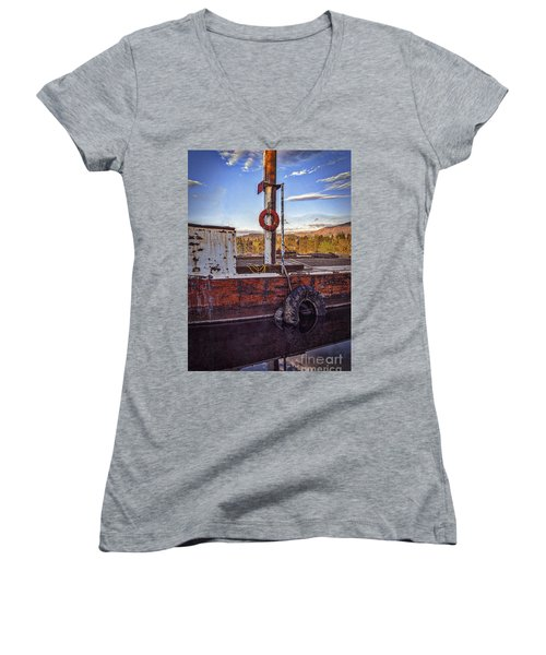 Women's V-Neck T-Shirt (Junior Cut) featuring the photograph Rust Never Sleeps by Mitch Shindelbower