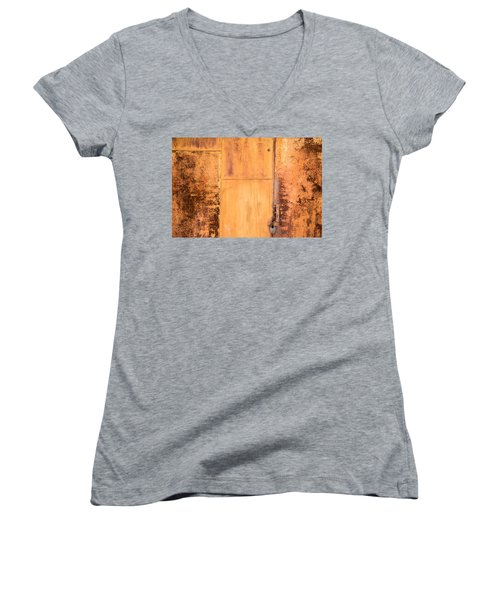 Women's V-Neck T-Shirt (Junior Cut) featuring the photograph Rust On Metal Texture by John Williams