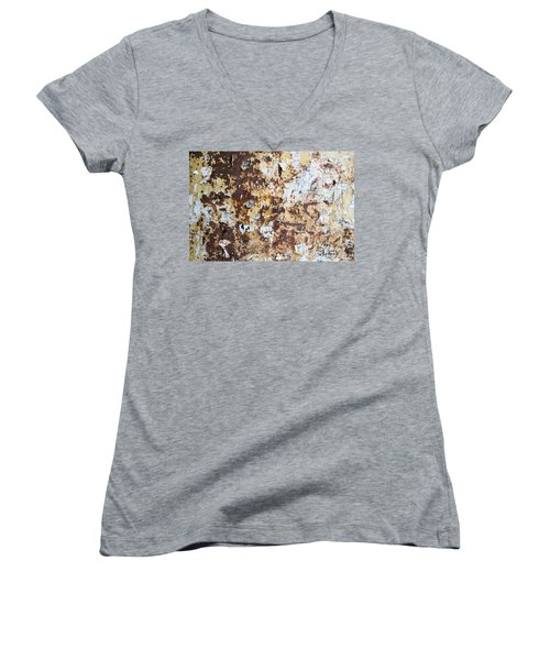 Women's V-Neck T-Shirt (Junior Cut) featuring the photograph Rust Paper Texture by John Williams