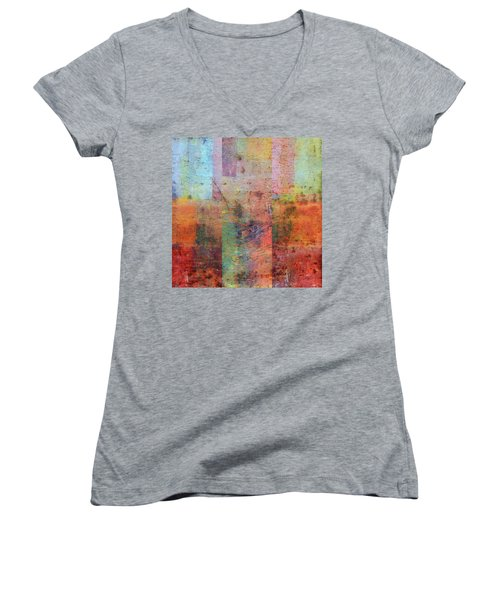 Women's V-Neck T-Shirt featuring the painting Rust Study 1.0 by Michelle Calkins