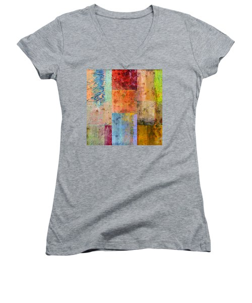 Women's V-Neck T-Shirt featuring the painting Rust Study 2.0 by Michelle Calkins