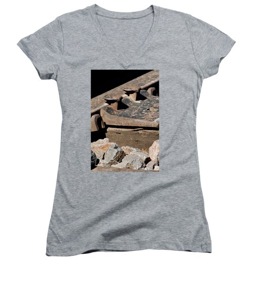 Rusted Rail Women's V-Neck T-Shirt (Junior Cut) by Colleen Coccia