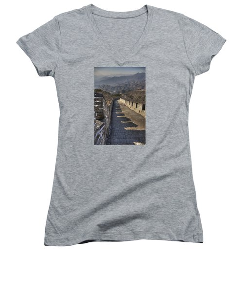 Women's V-Neck T-Shirt (Junior Cut) featuring the photograph Rusti  Great Wall Hdr by Matthew Bamberg