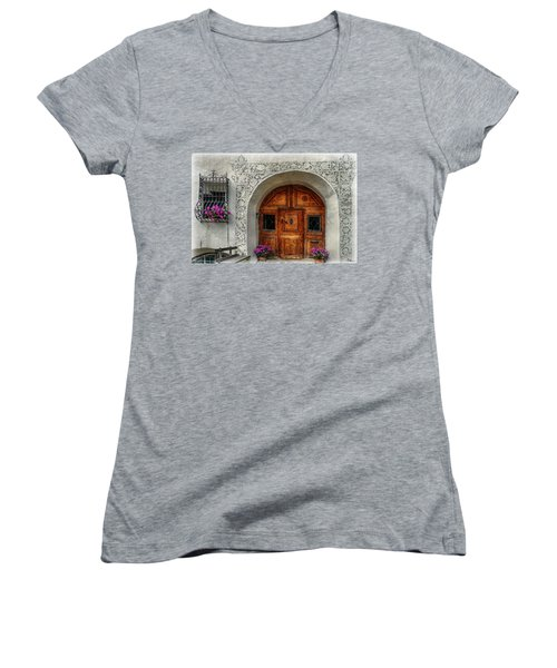 Rustic Front Door Women's V-Neck T-Shirt (Junior Cut) by Hanny Heim