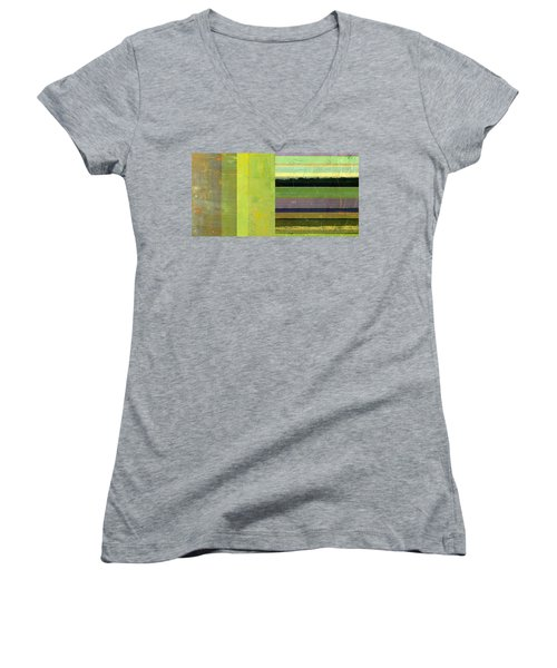Women's V-Neck T-Shirt featuring the painting Rustic Green Flag With Stripes by Michelle Calkins