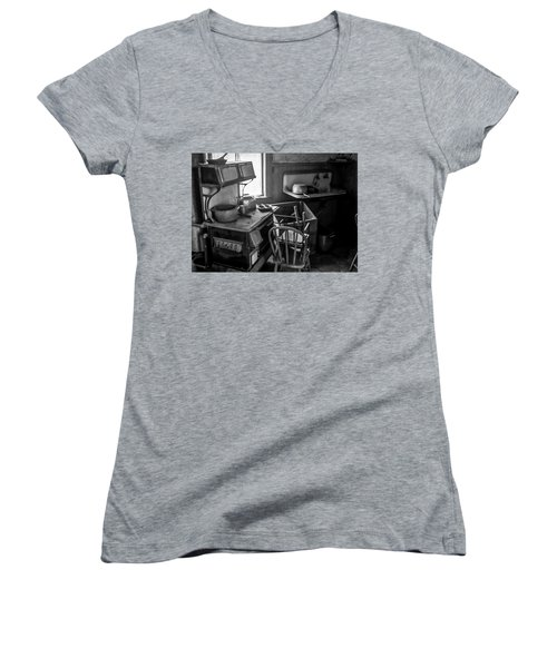 Rusting Pots And Pans, Bodie Ghost Town Women's V-Neck T-Shirt