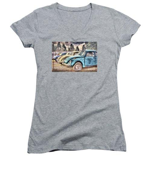 Women's V-Neck T-Shirt (Junior Cut) featuring the photograph Rusty Bugs by Jean OKeeffe Macro Abundance Art