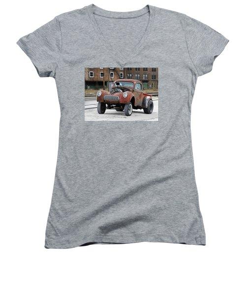 Rusty Gasser Women's V-Neck T-Shirt (Junior Cut) by Christopher McKenzie