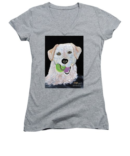 Women's V-Neck T-Shirt (Junior Cut) featuring the painting Rusty On Canvas by Janice Rae Pariza