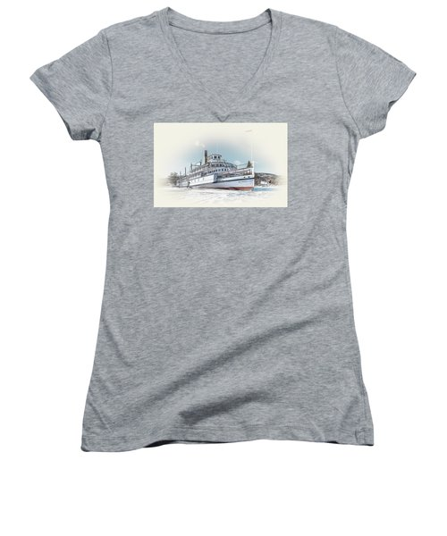 Women's V-Neck T-Shirt (Junior Cut) featuring the photograph S. S. Sicamous II by John Poon