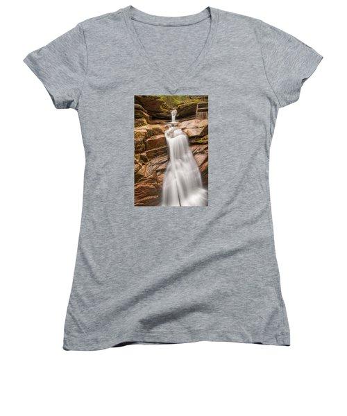 Sabbaday Falls Women's V-Neck T-Shirt (Junior Cut) by Brenda Jacobs