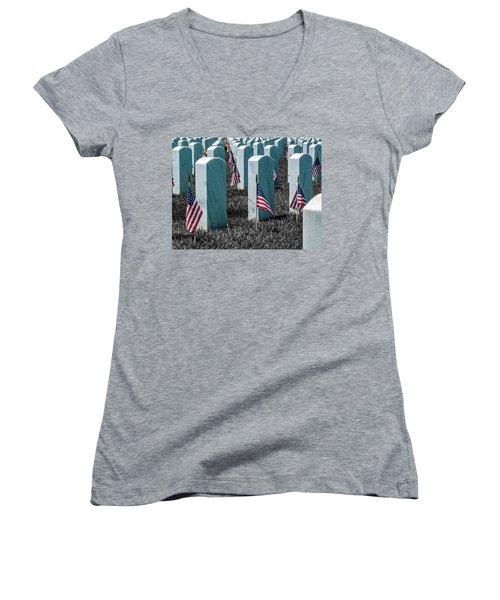 Women's V-Neck T-Shirt (Junior Cut) featuring the photograph Sacramento Valley Veterans Cemetary by Bill Gallagher
