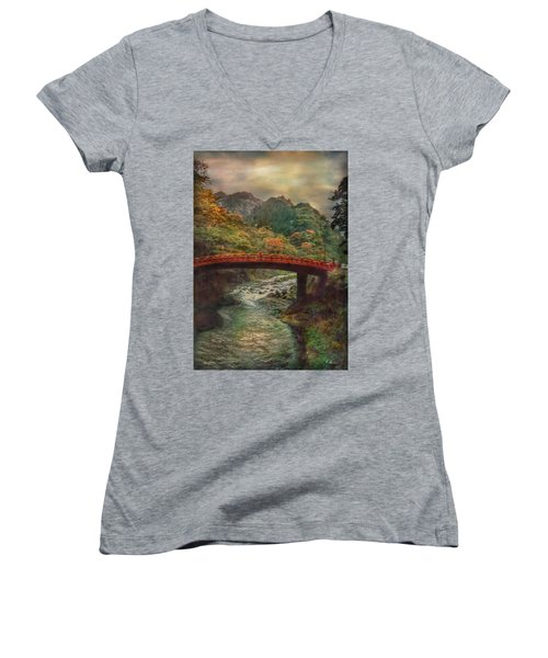 Women's V-Neck T-Shirt featuring the photograph Sacred Bridge by Hanny Heim