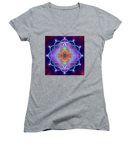 Sacred Geometry 641 Women's V-Neck T-Shirt (Junior Cut) by Endre Balogh
