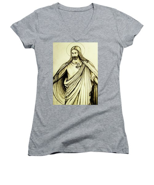 Women's V-Neck T-Shirt (Junior Cut) featuring the drawing Sacred Heart by Mary Ellen Frazee