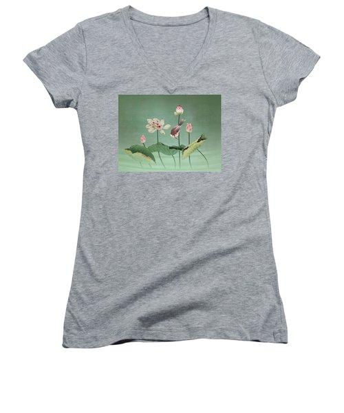 Sacred Lotus Flower Women's V-Neck (Athletic Fit)