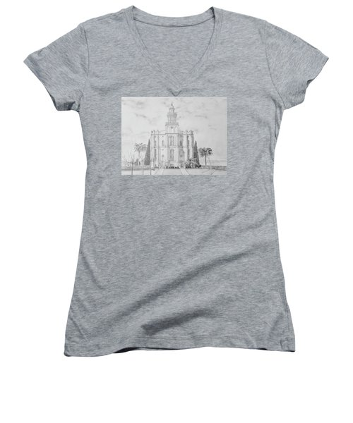 Sacred Steps - St. George Temple Women's V-Neck (Athletic Fit)