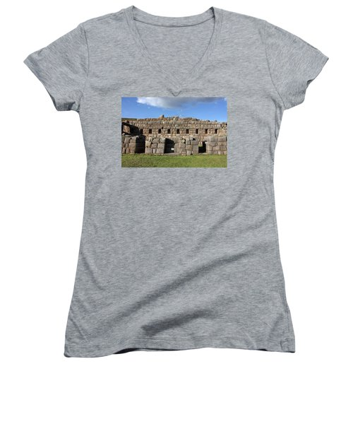 Sacsaywaman Cusco, Peru Women's V-Neck T-Shirt (Junior Cut) by Aidan Moran
