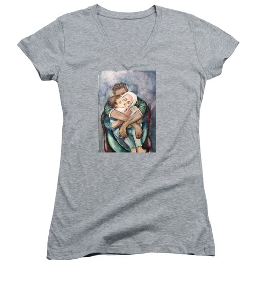 Women's V-Neck T-Shirt (Junior Cut) featuring the painting The Saddest Moment by Laila Awad Jamaleldin