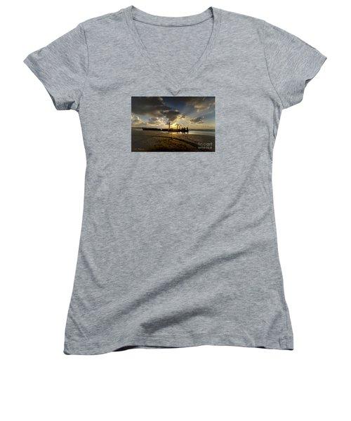 Safe Shore 04 Women's V-Neck T-Shirt (Junior Cut) by Arik Baltinester
