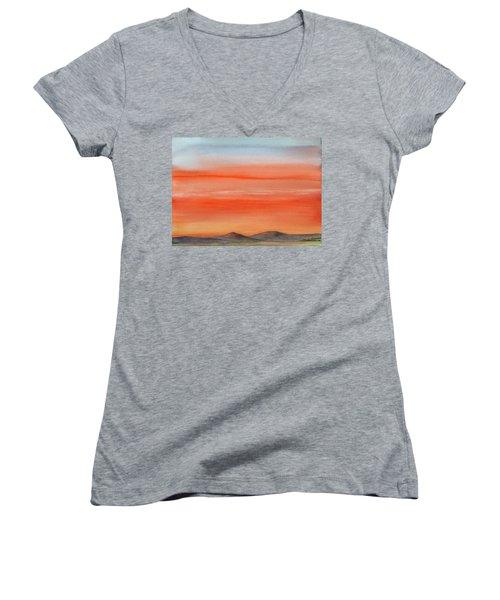 Saffron On The Mountains Women's V-Neck (Athletic Fit)
