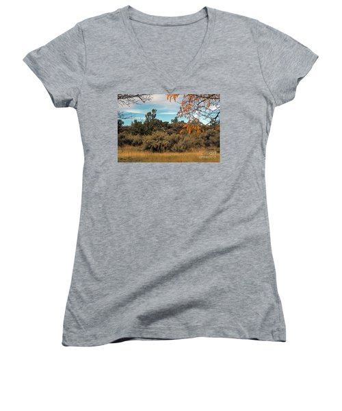 Sagebrush And Lava Women's V-Neck T-Shirt (Junior Cut) by Cindy Murphy - NightVisions