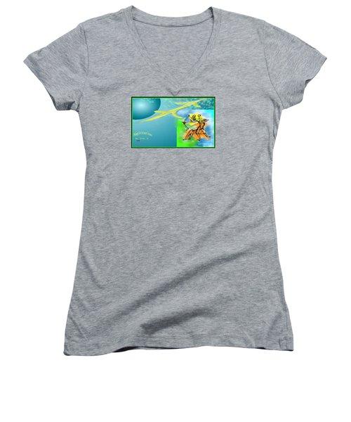 Women's V-Neck T-Shirt (Junior Cut) featuring the digital art Sagittarius by The Art of Alice Terrill