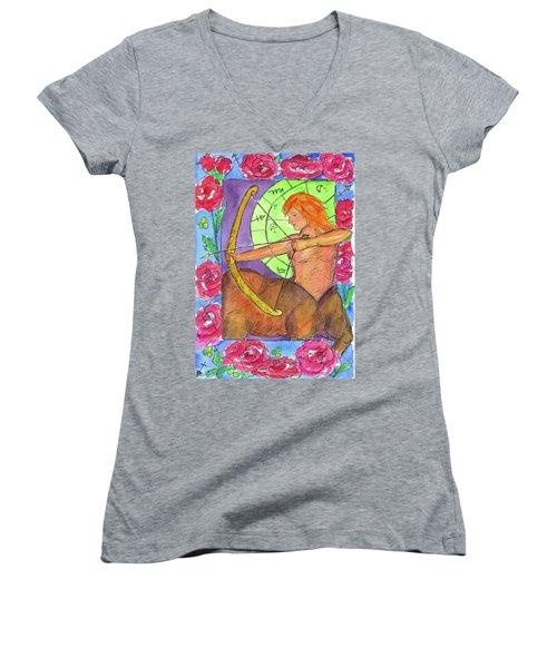 Women's V-Neck T-Shirt (Junior Cut) featuring the painting Sagittarius by Cathie Richardson
