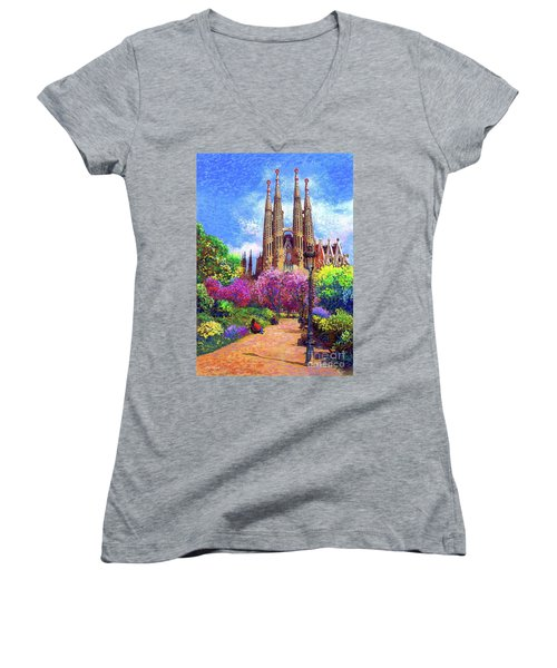 Sagrada Familia And Park Barcelona Women's V-Neck (Athletic Fit)