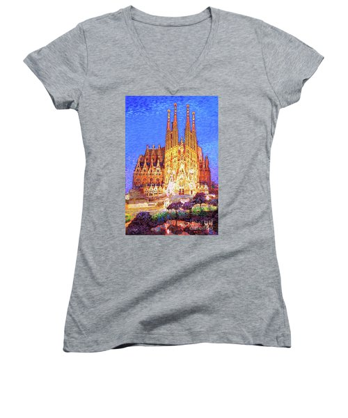 Women's V-Neck T-Shirt (Junior Cut) featuring the painting Sagrada Familia At Night by Jane Small